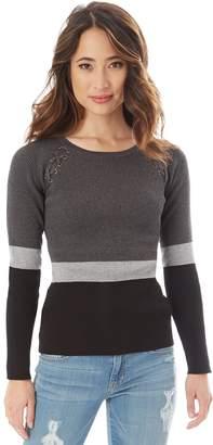 Iz Byer Juniors' Ribbed Lace-Up Shoulder Sweater