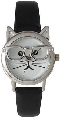 OLIVIA PRATT Olivia Pratt Womens Silver-Tone Ears And Glasses White Cat Face Print Dial Black Faux Leather Strap Watch 15097