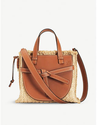 Loewe Gate top-handle small leather and woven raffia tote bag
