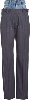 Maison Margiela Pinstriped Pants with Denim Waistband