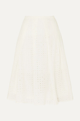 J.Crew Kennedy Pleated Broderie Anglaise Cotton-voile Midi Skirt - Ivory