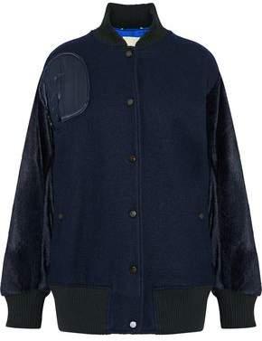 By Malene Birger Faux Fur-Paneled Appliquéd Felt Bomber Jacket
