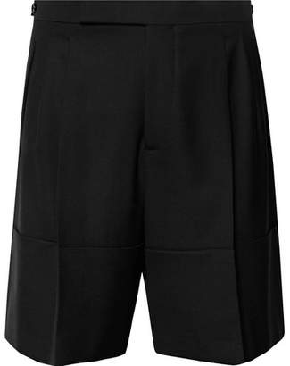 Raf Simons Wide-Leg Pleated Stretch-Virgin Wool Shorts