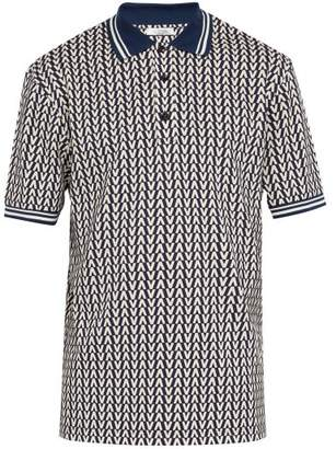 Valentino Optical Print Cotton Pique Polo Shirt - Mens - Navy Multi