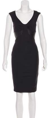 Flavio Castellani Leather-Accented Knee-Length Dress