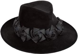 Philip Treacy Velour Roses Trilby Hat