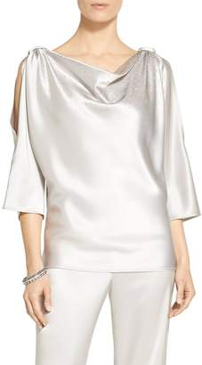 St. John Sequined Liquid Satin Blouse