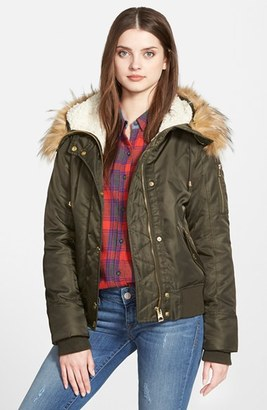 GUESS Hooded Satin Bomber Jacket with Faux Fur Trim & Faux Shearling Lining $128 thestylecure.com