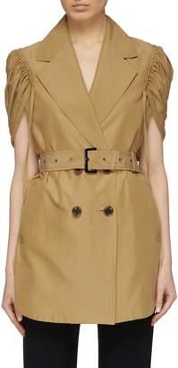 AKIRA NAKA Belted ruched split sleeve cotton-silk trench jacket