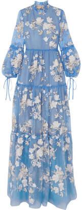 Erdem Cassandra Ruffled Embroidered Silk-organza Gown - Light blue