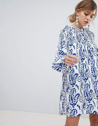 Sister Jane Shift Dress With Balloon Sleeves In All Over Paisley Print