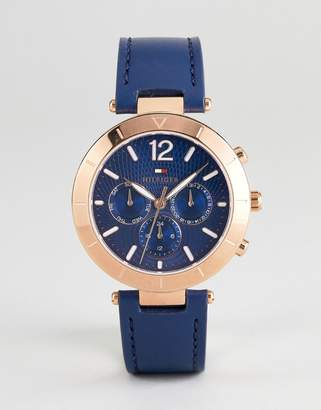 Tommy Hilfiger 1781881 Chronograph Leather Watch In Navy 38mm