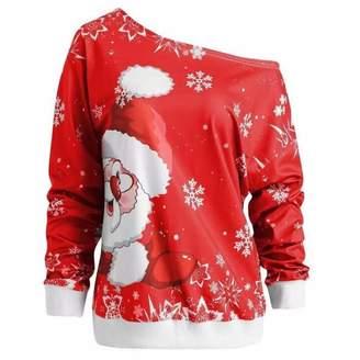 Leoie Sweatshirt Women Plus Size Cloth Teen Girls Women Chic Sexy Off Shoulder Sweatshirt Fashion Christmas Printing Tops Cotton Pullover S
