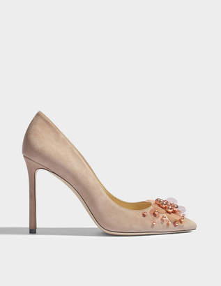 Jimmy Choo Romy 100 pumps with pailette flowere