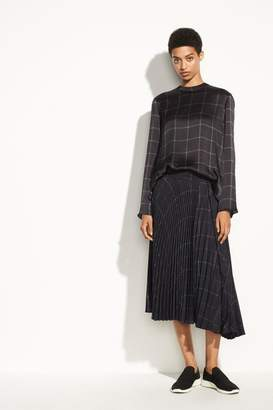 Vince Grid Plaid Blouse