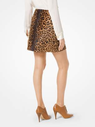 MICHAEL Michael Kors Leopard Calf Hair Mini Skirt