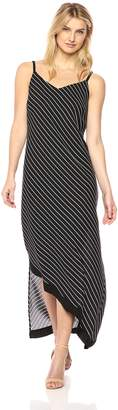 NY Collection Women's PRT V Nf Dress with Straps and Asymetricl Front Hem