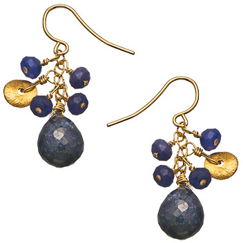 Athena Designs Gold and Sapphire Drop Earrings
