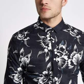 River Island Black mono floral print long sleeve slim fit