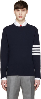Thom Browne Navy Cashmere Striped Armband Pullover $1,590 thestylecure.com