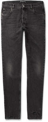 Balenciaga Distressed Denim Jeans - Men - Black