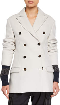 Brunello Cucinelli Wool Double-Breasted Military-Style Peacoat