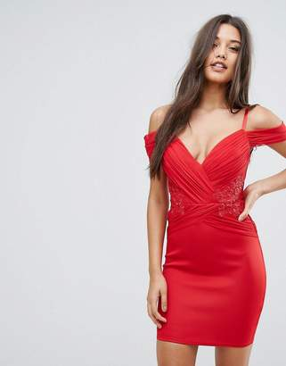 Lipsy Ruched Cold Shoulder Bodycon Dress