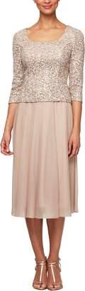 Alex Evenings Sequin Bodice Tea Length Dress