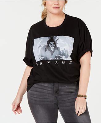 Mad Engine Trendy Plus Size Cotton Savage Graphic-Print T-Shirt