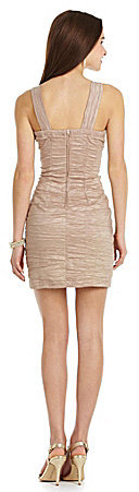 Teeze Me Beaded-Neck Textured Bodycon Dress