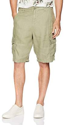 True Grit Men's Vintage Washed Textured Linen Cargo Short with Drawstring