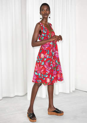And other stories Peony Print V-Neck Dress
