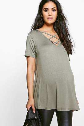 boohoo Maternity Harper Cross Front Swing Top