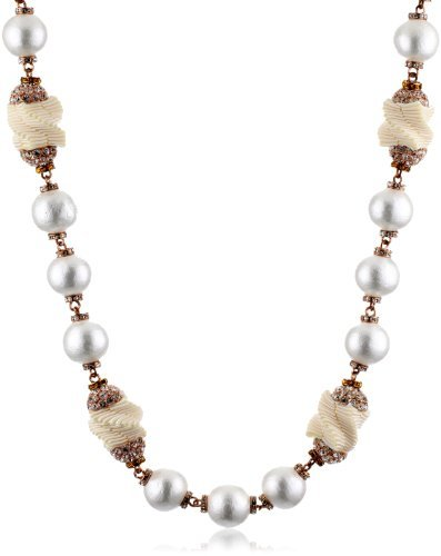 Marv Graff ?French Open? Cotton Simulated Pearl Ribbon Crystal Ivory Necklace, 36