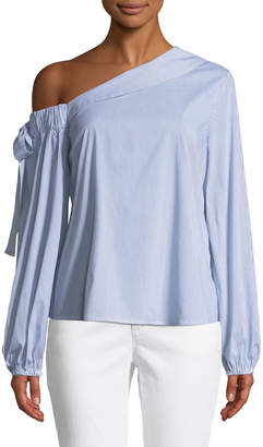 Marled By Reunited Striped One-Shoulder Blouse