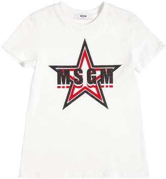 MSGM Glittered Logo Cotton Jersey T-Shirt