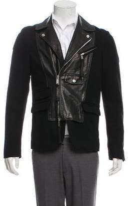 DSQUARED2 Leather & Virgin Wool Biker Jacket
