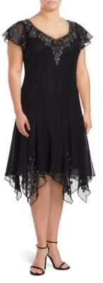 J Kara Plus V-Neck Flutter-Sleeve Embellished Dress