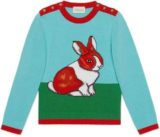 Gucci Children's wool sweater with rabbit intarsia