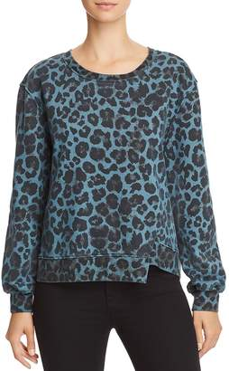 Pam & Gela Leopard Print Asymmetric Sweatshirt