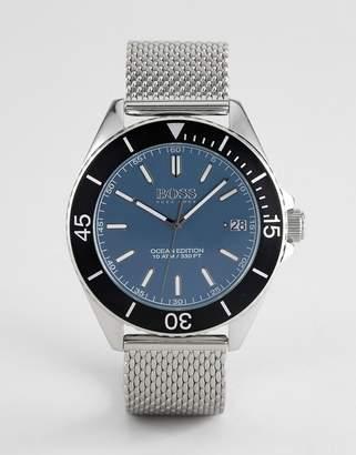 BOSS 1513561 Ocean Edition Mesh Watch In Silver