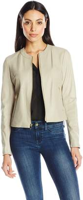 Via Spiga Women's Collarless Leather Jacket