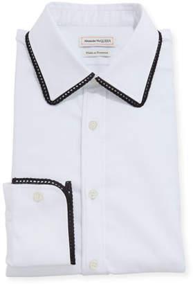 Alexander McQueen Men's Contrast-Trim Dress Shirt