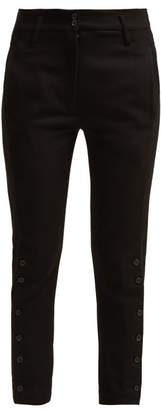 Ann Demeulemeester Buttoned Cuff Wool And Cotton Blend Trousers - Womens - Black