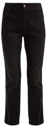 Frame Le Slender Mid Rise Cotton Blend Jeans - Womens - Black