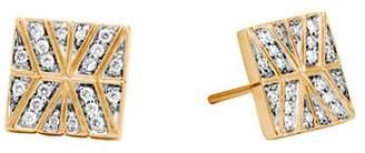 John Hardy 18K Yellow Gold Modern Chain Stud Earrings with Diamonds