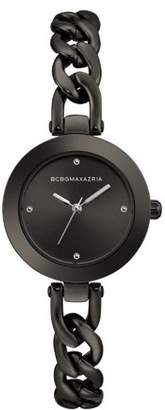 BCBGMAXAZRIA Women's Black Dial Gun Metal Bracelet Watch