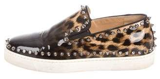 Christian Louboutin Leopard Studded Sneakers