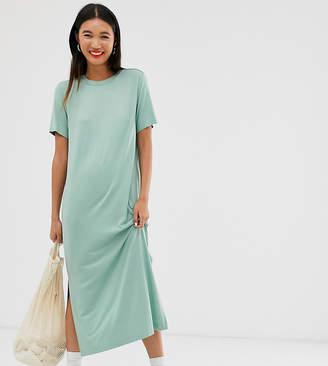 Monki midi t-shirt dress in sage green