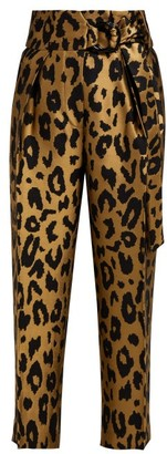 Petar Petrov Harell Leopard Print Jacquard Trousers - Womens - Gold Multi